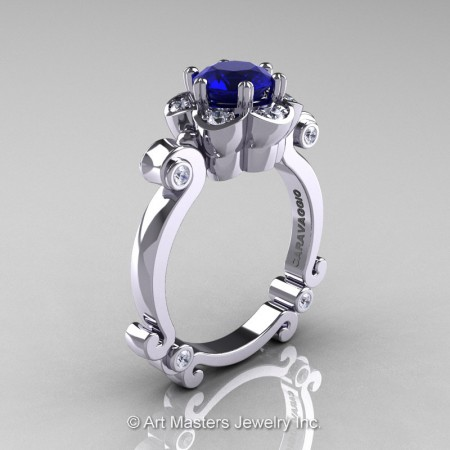 Art-Masters-Caravaggio-14K-White-Gold-1-Ct-Blue-Sapphire-Diamond-Engagement-Ring-R606-14KWGDBS-P