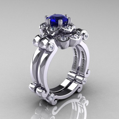 Art-Masters-Caravaggio-14K-White-Gold-1-Ct-Blue-Sapphire-Diamond-Engagement-Ring-Wedding-Band-Set-R606S-14KWGDBS-P