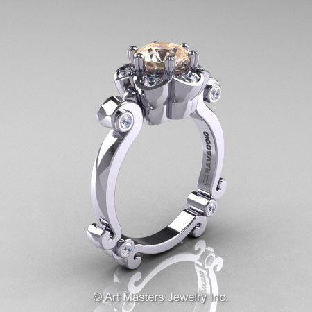 Art-Masters-Caravaggio-14K-White-Gold-1-Ct-Champagne-and-White-Diamond-Engagement-Ring-R606-14KWGDCHD-P