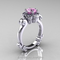 Art Masters Caravaggio 14K White Gold 1.0 Ct Light Pink Sapphire Diamond Engagement Ring R606-14KWGDLPS