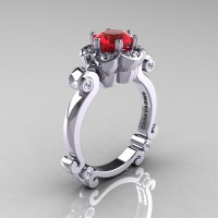 Art Masters Caravaggio 14K White Gold 1.0 Ct Ruby Diamond Engagement Ring R606-14KWGDR