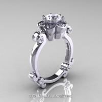 Art Masters Caravaggio 14K White Gold 1.0 Ct White Sapphire Diamond Engagement Ring R606-14KWGDWS