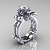Art Masters Caravaggio 14K White Gold 1.0 Ct White Sapphire Diamond Engagement Ring Wedding Band Set R606S-14KWGDWS