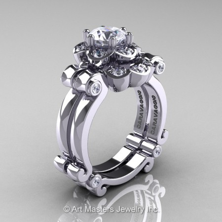 Art-Masters-Caravaggio-14K-White-Gold-1-Ct-White-Sapphire-Diamond-Engagement-Ring-Wedding-Band-Set-R606S-14KWGDWS-P
