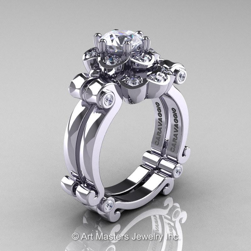 1 25ct Black Diamond Engagement Rings Set 14k White Gold: Art Masters Caravaggio 14K White Gold 1.0 Ct White