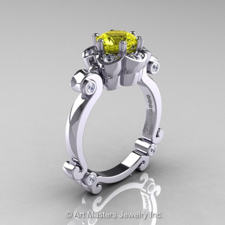 Art-Masters-Caravaggio-14K-White-Gold-1-Ct-Yellow-Sapphire-Diamond-Engagement-Ring-R606-14KWGDYS-P