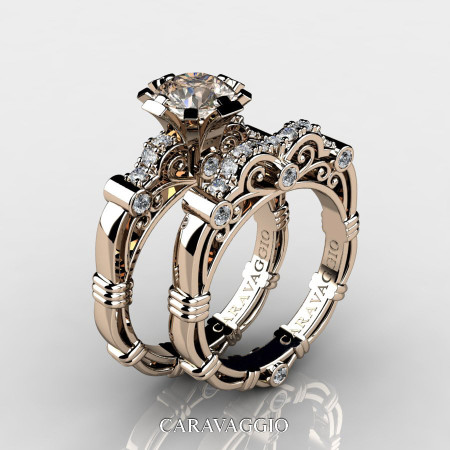 Art Masters Caravaggio 14K Rose Gold 1.0 Ct Champagne and White Diamond Engagement Ring Wedding Band Set R623S-14KRGDCHD