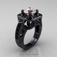 Art Masters Classic 14K Black Gold 2.0 Ct Morganite Black Diamond Engagement Ring Wedding Ring R298-14KBGBDMO