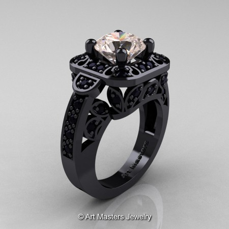 Art-Masters-Classic-14K-Black-Gold-2-Carat-Morganite-Black-Diamond-Engagement-Ring-Wedding-Ring-R298-14KBGBDMO-P