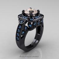 Art Masters Classic 14K Black Gold 2.0 Ct Morganite Blue Topaz Engagement Ring Wedding Ring R298-14KBGBTMO