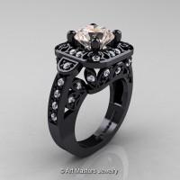 Art Masters Classic 14K Black Gold 2.0 Ct Morganite Diamond Engagement Ring Wedding Ring R298-14KBGDMO