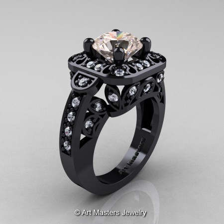 Art-Masters-Classic-14K-Black-Gold-2-Carat-Morganite-Diamond-Engagement-Ring-Wedding-Ring-R298-14KBGDMO-P
