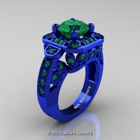 Art Masters Classic 14K Blue Gold 2.0 Ct Emerald Engagement Ring Wedding Ring R298-14KBLGEM