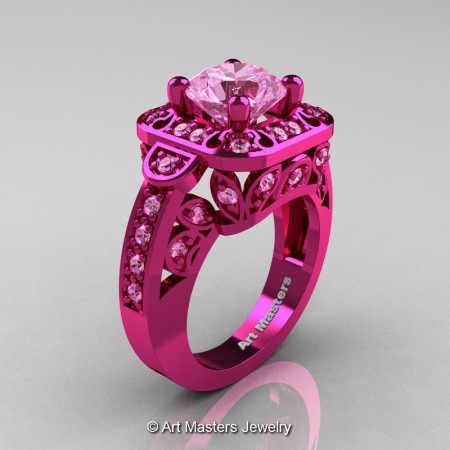 Art-Masters-Classic-14K-Fuchsia-Pink-Gold-2-Carat-Light-Pink-Sapphire-Engagement-Ring-Wedding-Ring-R298-14KPGLPS-P