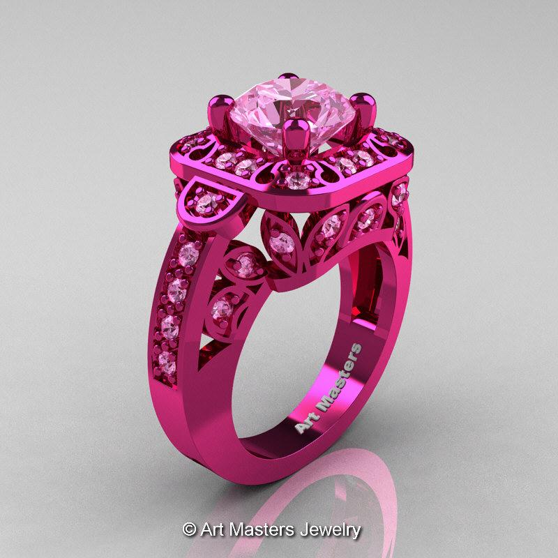 Art Masters Classic 14K Fuchsia Pink Gold 20 Ct Light Pink Sapphire