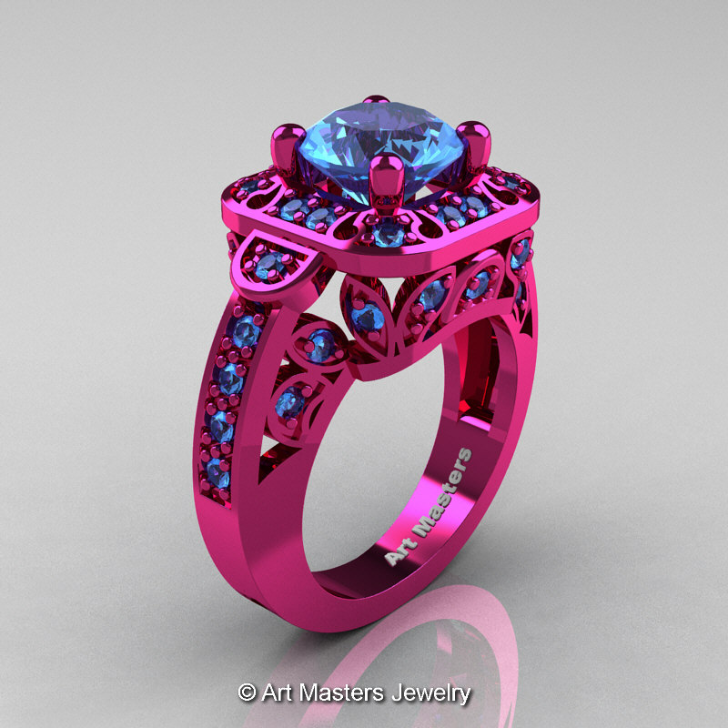 art masters classic 14k fuchsia pink gold 2 art masters classic 14k fuchsia pink gold 20 ct swiss blue topaz engagement ring - Blue Topaz Wedding Rings