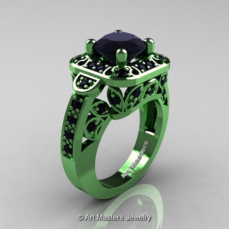 Art Masters Classic 14K Green Gold 20 Ct Black Diamond Engagement Ring Wedding Ring R298