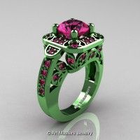Art Masters Classic 14K Green Gold 2.0 Ct Pink Sapphire Engagement Ring Wedding Ring R298-14KGGPS