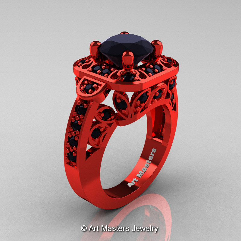 rings and with sets unique wedding ring black red