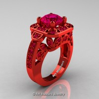 Art Masters Classic 14K Red Gold 2.0 Ct Pigeoin Blood Ruby Engagement Ring Wedding Ring R298-14KREGPBR