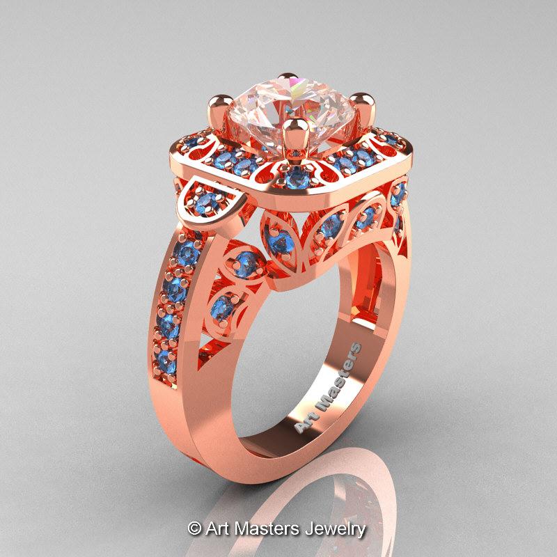 Art Masters Classic 14K Rose Gold 2 Carat . Art Masters Classic 14K Rose  Gold 2.0 Ct Morganite Blue Topaz Engagement Ring ...