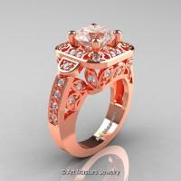 Art Masters Classic 14K Rose Gold 2.0 Ct Morganite Diamond Engagement Ring Wedding Ring R298-14KRGDMO