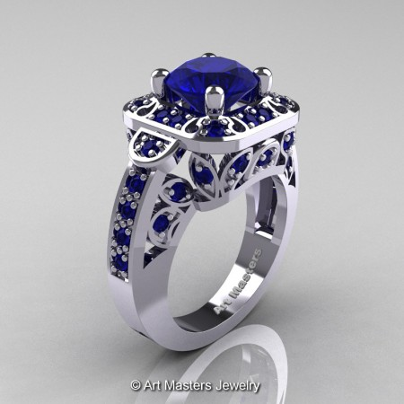 Art-Masters-Classic-14K-White-Gold-2-Carat-Blue-Sapphire-Engagement-Ring-Wedding-Ring-R298-14KWGBS-P