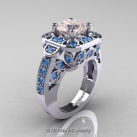 Art Masters Classic 14K White Gold 2.0 Ct Morganite Blue Topaz Engagement Ring Wedding Ring R298-14KWGBTMO