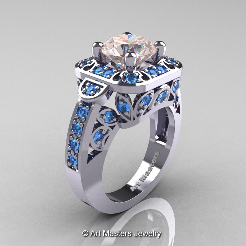 art masters classic 14k white gold 2 carat art masters classic 14k white gold 20 ct morganite blue topaz engagement ring - Blue Topaz Wedding Rings