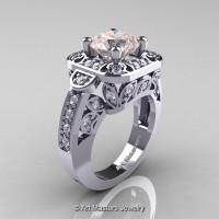 Art Masters Classic 14K White Gold 2.0 Ct Morganite Diamond Engagement Ring Wedding Ring R298-14KWGDMO