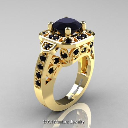 Art-Masters-Classic-14K-Yellow-Gold-2-Carat-Black-Diamond-Engagement-Ring-Wedding-Ring-R298-14KYGBD-P