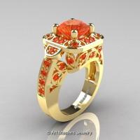 Art Masters Classic 14K Yellow Gold 2.0 Ct Orange Sapphire Engagement Ring Wedding Ring R298-14KYGOS