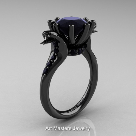 Art-Masters-Cobra-14K-Black-Gold-3-Carat-Black-Diamond-Engagement-Ring-R602-14KBGBD-P
