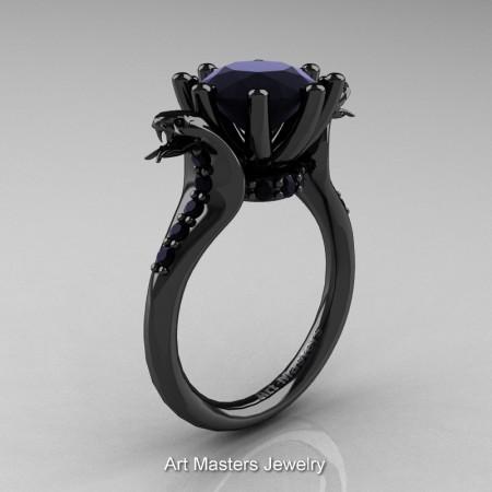 Art-Masters-Cobra-14K-Black-Gold-3-Carat-Black-Diamond-Engagement-Ring-R602-14KBGBD-P