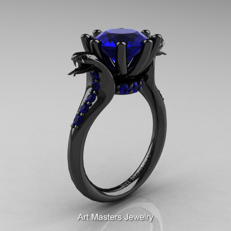 Art Masters Exclusive 14K Black Gold 3.0 Ct Royal Blue Sapphire Cobra Engagement Ring R602-14KBGBS