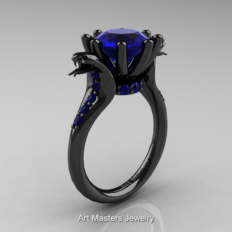 Art Masters Exclusive 14K Black Gold 3 0 Ct Royal Blue Sapphire Cobra Engagem