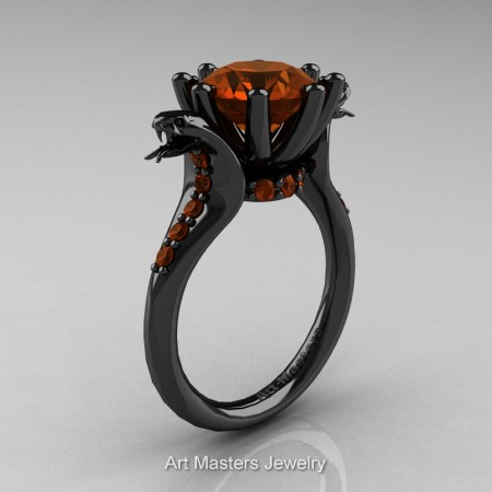 Art-Masters-Cobra-14K-Black-Gold-3-Carat-Brown-Diamond-Engagement-Ring-R602-14KBGBRD-P