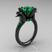 Art Masters Cobra 14K Black Gold 3.0 Ct Emerald Engagement Ring R602-14KBGBEM