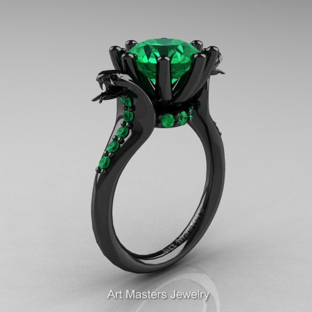 Art-Masters-Cobra-14K-Black-Gold-3-Carat-Emerald-Engagement-Ring-R602-14KBGEM-P