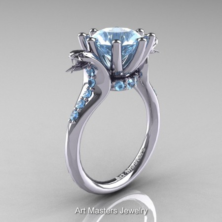 Art-Masters-Cobra-14K-White-Gold-3-Carat-Aquamarine-Engagement-Ring-R602-14KWGAQ-P