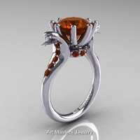 Art Masters Cobra 14K White Gold 3.0 Ct Brown Diamond Engagement Ring R602-14KWGBRD