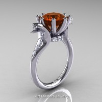 Art Masters Cobra 14K White Gold 3.0 Ct Brown and White Diamond Engagement Ring R602-14KWGDBRD