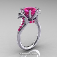 Art Masters Exclusive 14K White Gold 3.0 Ct Pink Sapphire Cobra Engagement Ring R602-14KWGPS