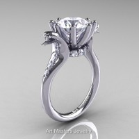 Art Masters Exclusive 14K White Gold 3.0 Ct White Sapphire Cobra Engagement Ring R602-14KWGWS