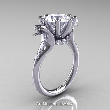 Art-Masters-Cobra-14K-White-Gold-3-Carat-White-Sapphire-Diamond-Engagement-Ring-R602-14KWGDWS-P