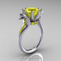 Art Masters Cobra 14K White Gold 3.0 Ct Yellow Sapphire Engagement Ring R602-14KWGYS