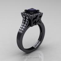 Art Masters French 14K Black Gold 1.0 Ct Black and White Diamond Engagement Ring R215-14KBGDBD