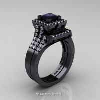 Art Masters French 14K Black Gold 1.0 Ct Princess Black and White Diamond Engagement Ring Wedding Band Set R215PS-14KBGDBD