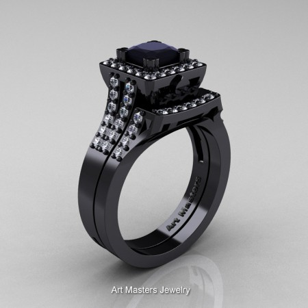 Art-Masters-French-14K-Black-Gold-1-0-Ct-Princess-Black-White-Diamond-Engagement-Ring-Wedding-Band-Set-R215PS-14KBGDBD-P