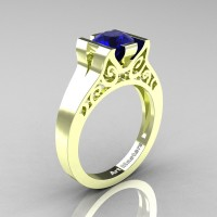 Modern Classic 14K Green Gold 1.0 CT Blue Sapphire Engagement Ring Wedding Ring R36N-14KGGBS